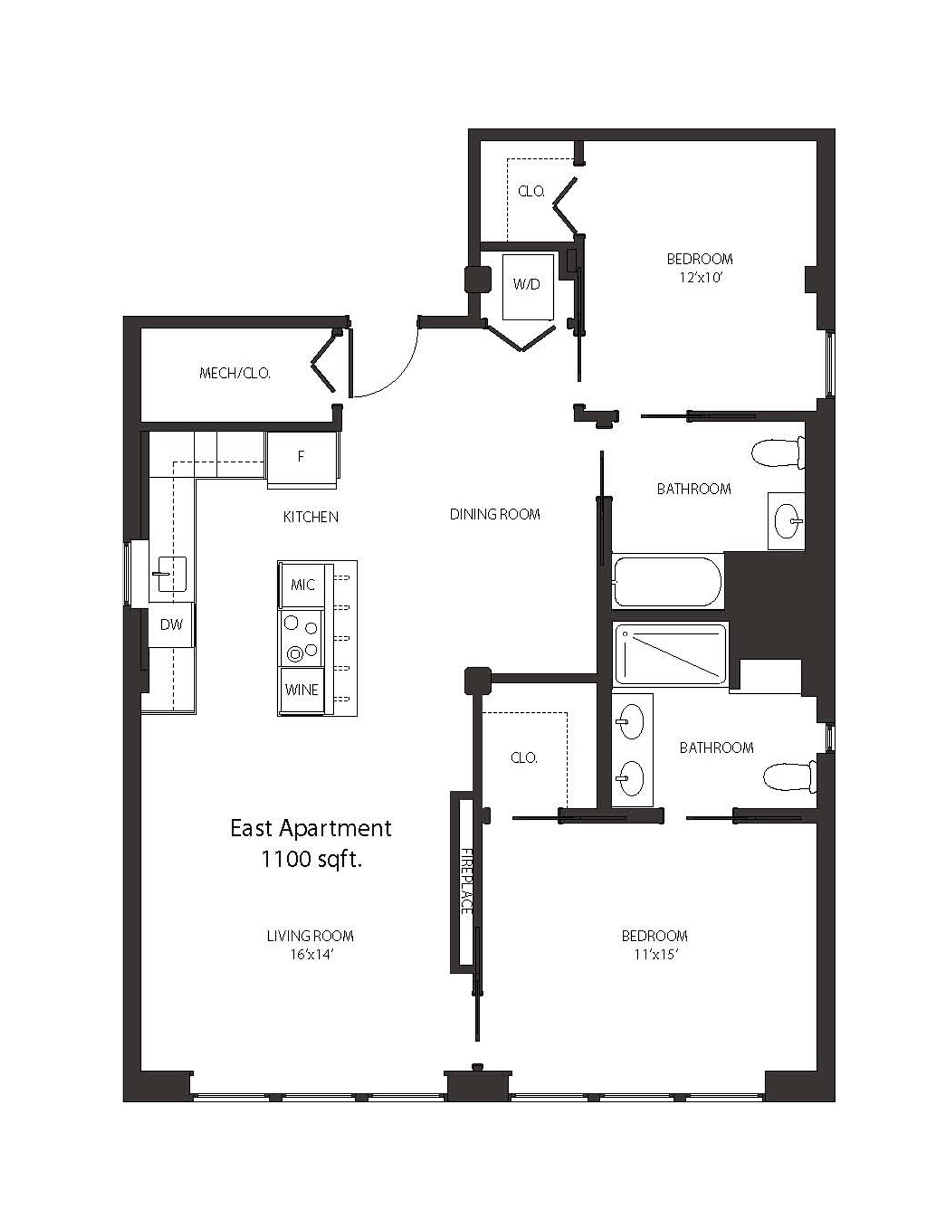 Two Bedroom Apartment (floorplan) - The Alexandre Buffalo