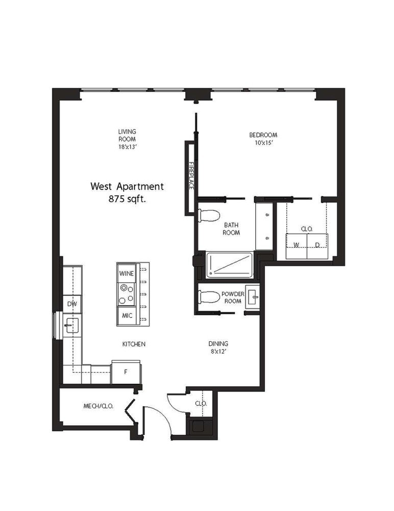 One Bedroom Apartment (floorplan) - The Alexandre Buffalo